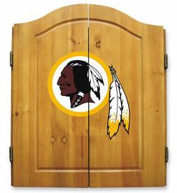 Washington Redskins Dartboard Wood Cabinet Set, Darts Game,