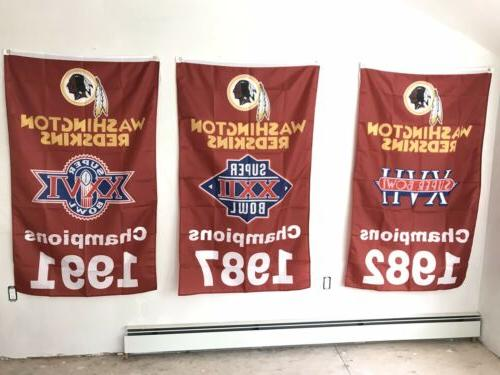 Complete Washington Redskins NFL Champions 3 Banners/Flags