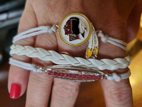 nfl washington redskins bracelet football charm rope