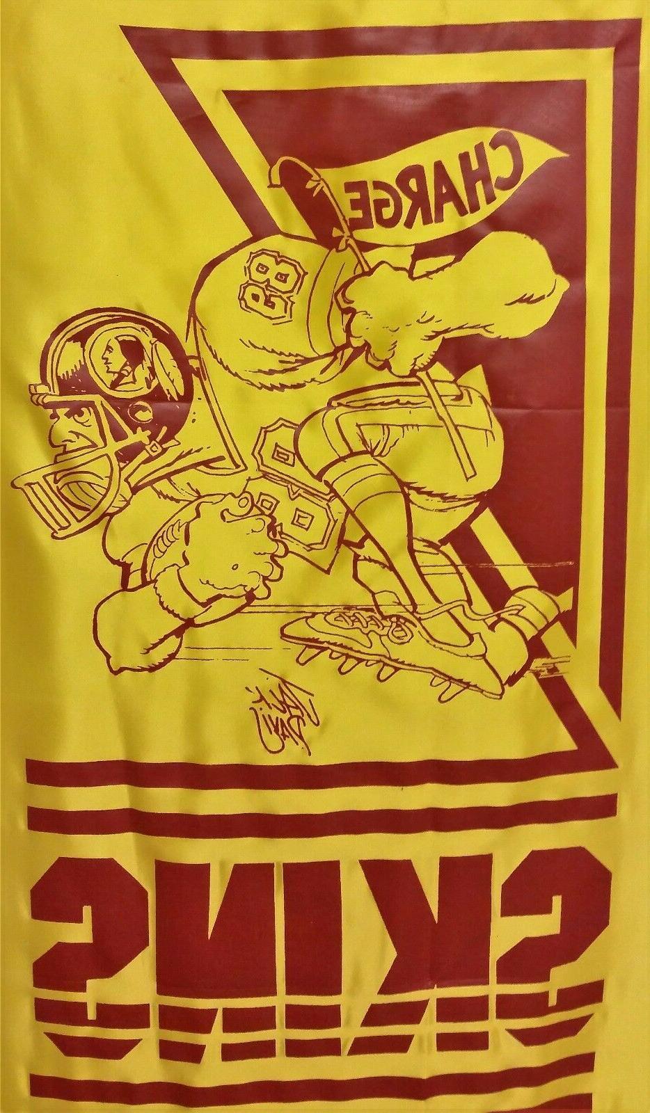 vintage washington redskins wall hanging banner man