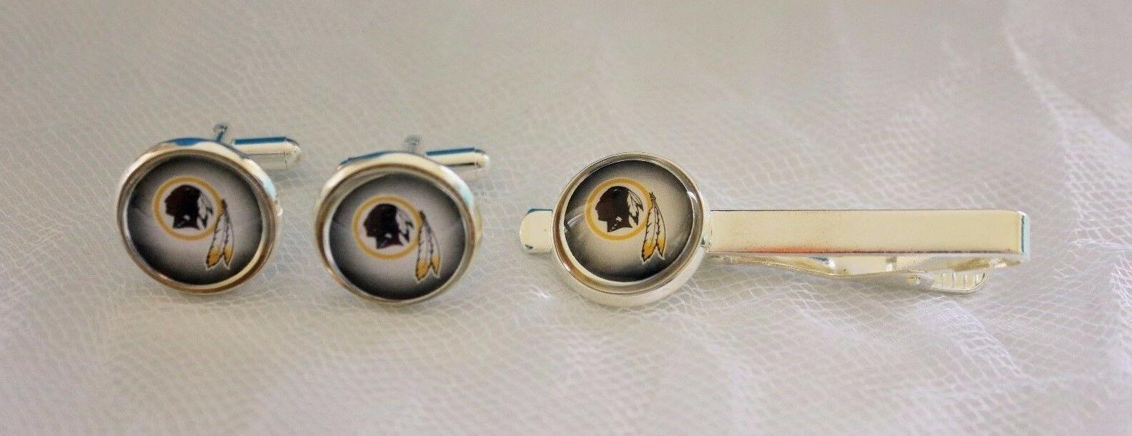 washington redskins cufflinks and tie clip set