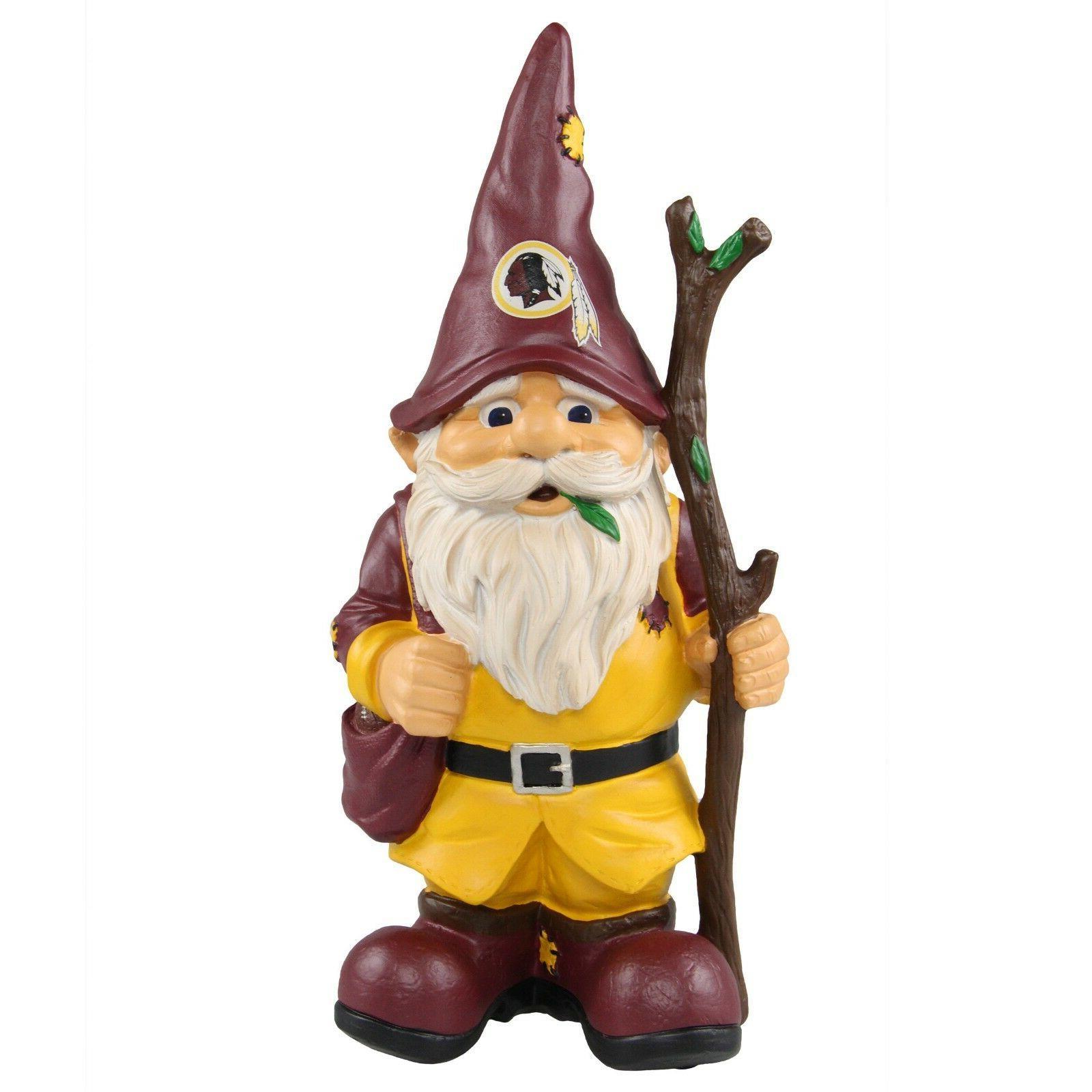 washington redskins holding stick decorative garden gnome