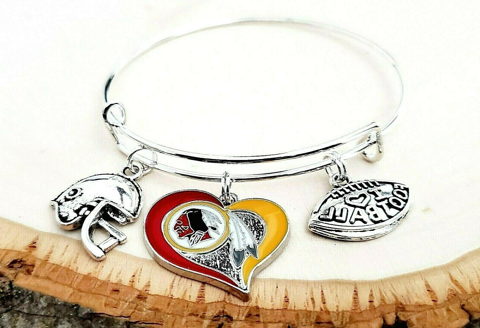 Washington Redskins Heart Charm Bracelet Jewelry