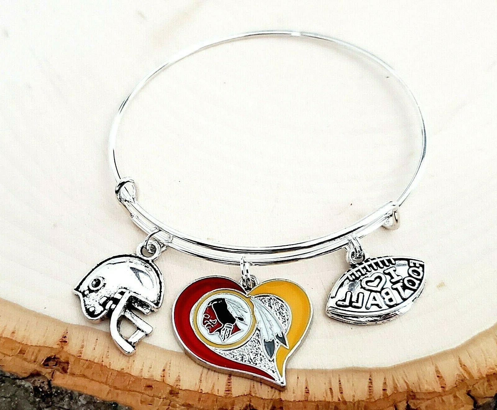 washington redskins nfl heart charm logo bracelet