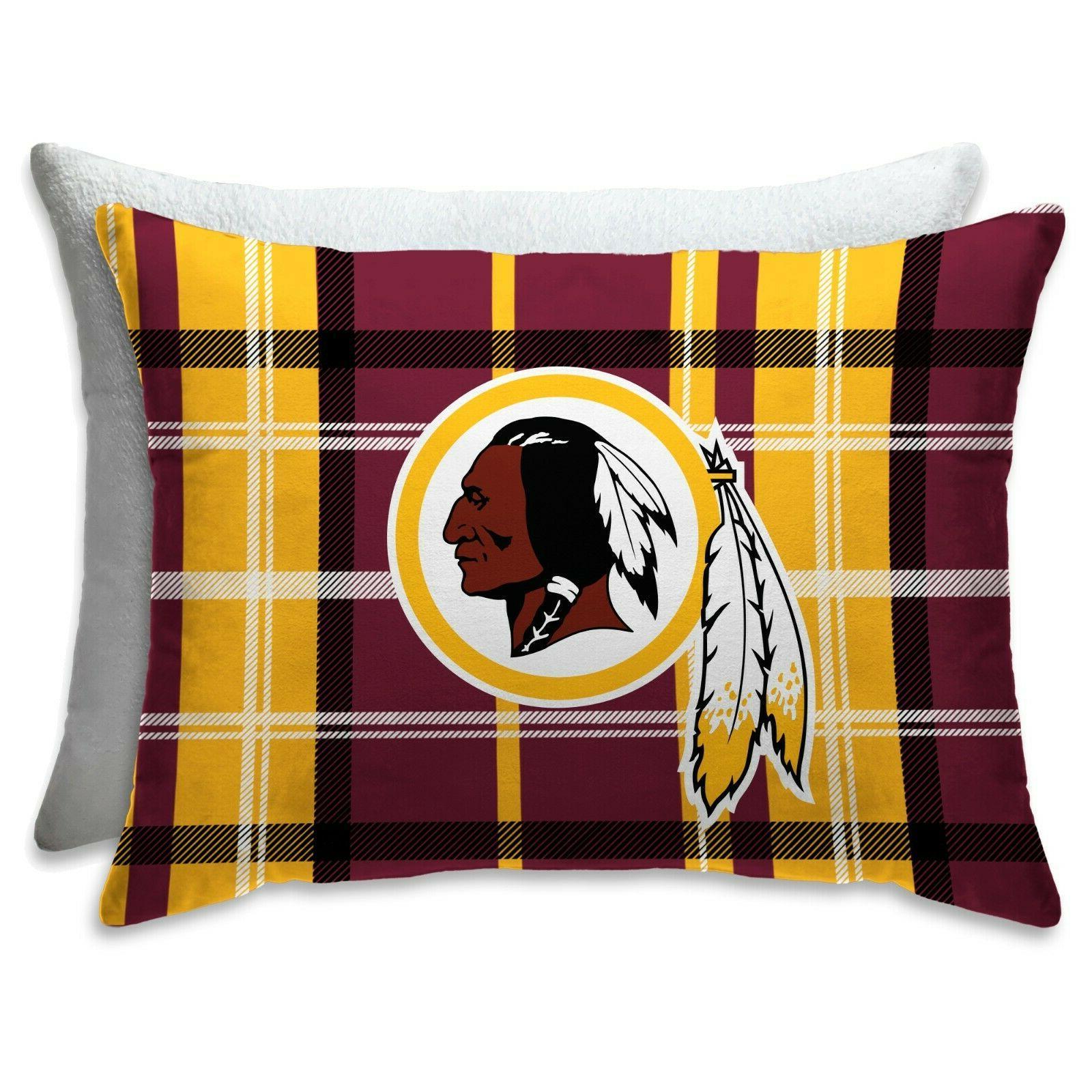 washington redskins nfl pillow full size plaid
