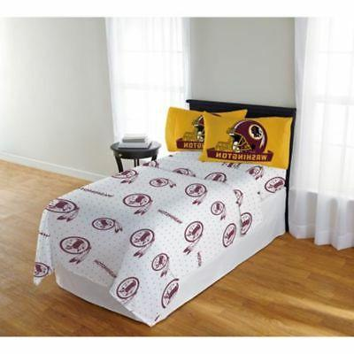 Washington Redskins  Sheet Set NFL Full Bed Fitted Flat Shee