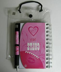 new nfl pink 4x6 notebook pen set