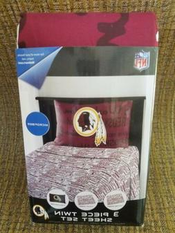 New! NFL Washington Redskins MicroFiber Sheet Set TWIN 3 pie