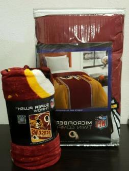 "New Washington Redskins Twin 64""×86"" Comforter W/Bonus Supe"