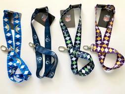 NFL Argyle Pattern Lanyard Soft Keychain Badge/Ticket Holder