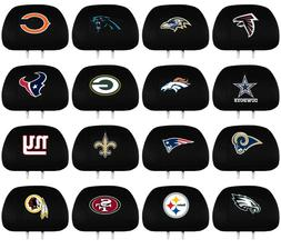 NFL Football Black Car Headrest Cover Embroidered Logo - 2 P