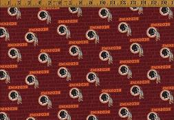 "NFL Mini Print Washington Redskins Fabric 100% Cotton, 58"" w"