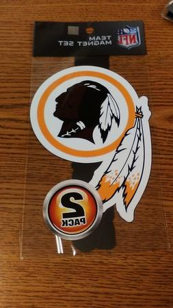 NFL WASHINGTON REDSKINS 2 PACK OF MAGNETS NEW IN PACKAGE CAR