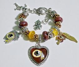 NFL Washington Redskins Handmade Football Charm Bracelet 6 3