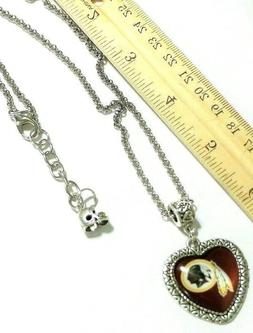 NFL WASHINGTON REDSKINS HANDMADE HEART STAINLESS STEEL NECKL