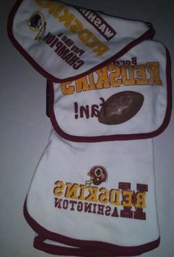 NWT Washington Redskins NFL Infant Bibs & Burp Cloth 3-Piece