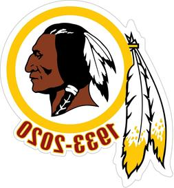 WASHINGTON REDSKINS 1933-2020 Vinyl Decal / Sticker  7+ YEAR