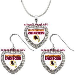 Washington Redskins  925 Necklace / Earrings or Set Team Hea