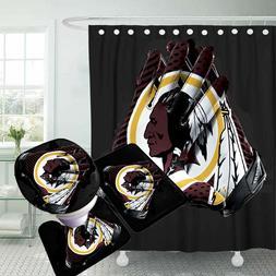 Washington Redskins Bathroom Rugs 4PCS Shower Curtain Bath M