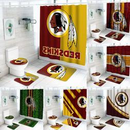 Washington Redskins Bathroom Rugs 4PCS Shower Curtain An-Ski