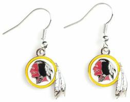 Washington Redskins Football Team Logo NFL Silver Dangle Ear