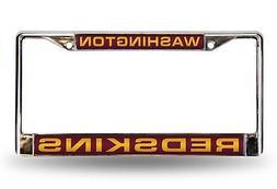 Washington Redskins LASER FRAME Chrome Metal License Plate T