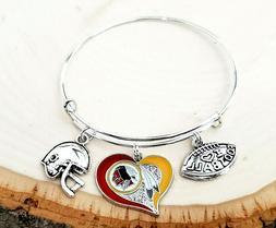 Washington Redskins NFL Heart Charm Logo Bracelet Jewelry