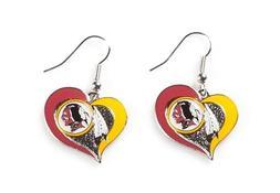 Washington REDSKINS NFL Swirl Heart Dangle Earrings