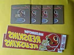 Washington Redskins Pair Vinyl Bumper Stickers & Four  Coast
