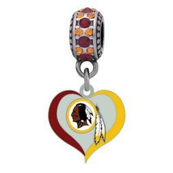 Washington Redskins Swirl Heart Charm